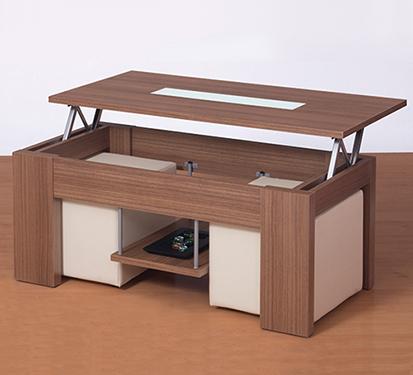 Mesa de centro cuadrada elevable con cristales y puffs - Cristales para mesa ...