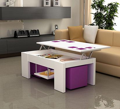 Mesa de centro cuadrada elevable con cristales y puffs morados car interior design - Mesa de centro con puff ...