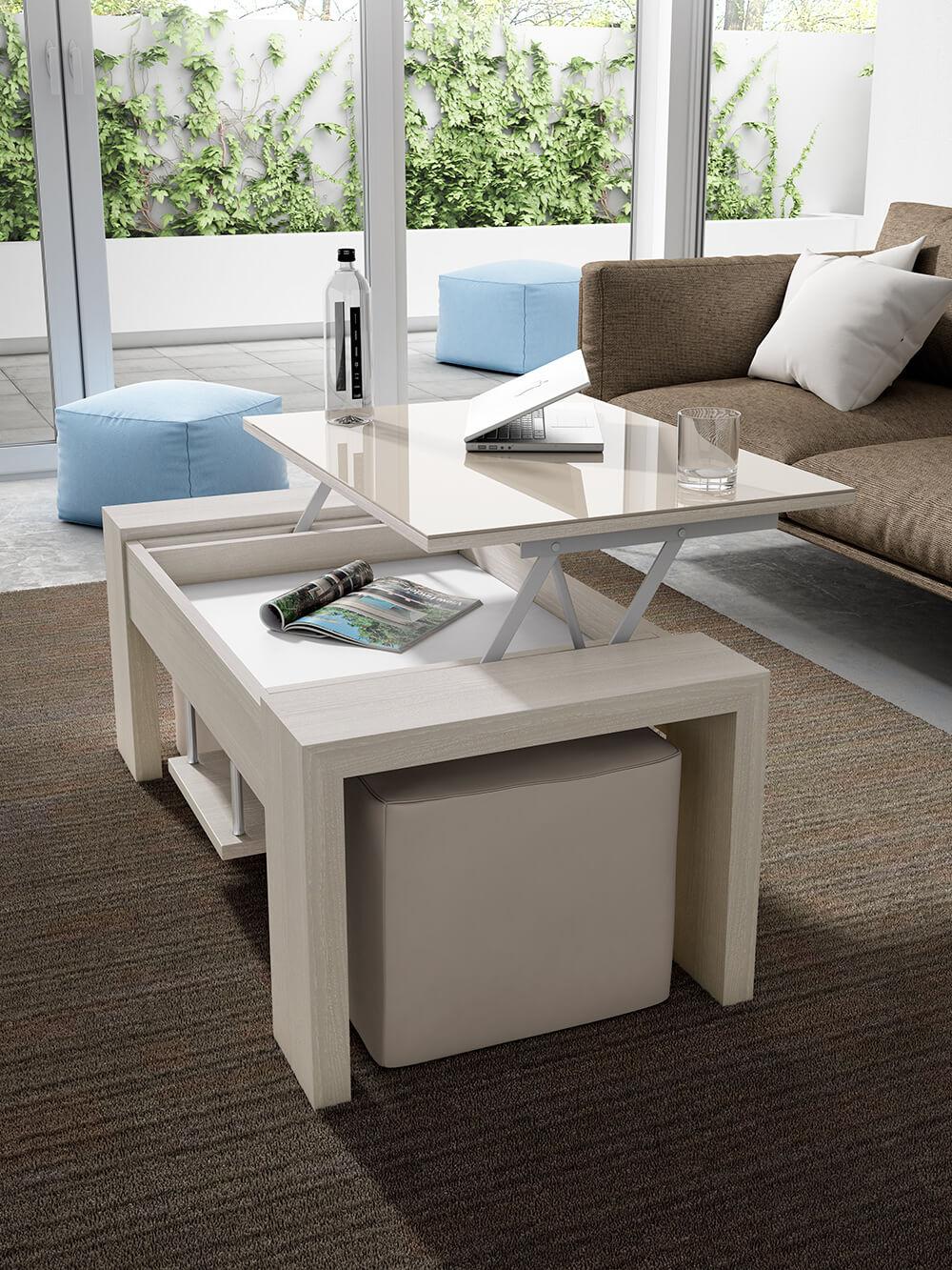 8a9886f8031 awesome mesa de centro elevable con detalle porcelnico o cristal y puffs  with mesa centro extensible y elevable