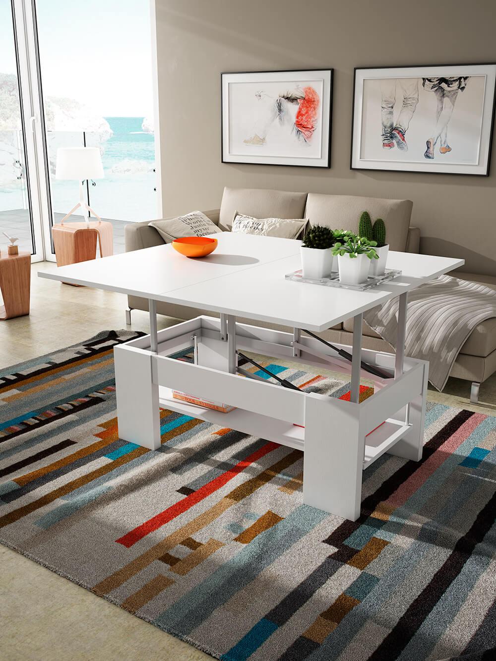 Mesas de centro auxiliares pinald - Mesa de centro convertible en mesa de comedor ...